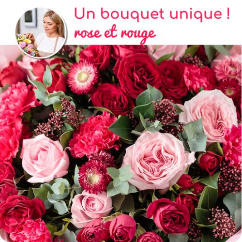 Au Coin De Ma Rue Courses En Ligne Bouquet Du Fleuriste Rose Et Rouge